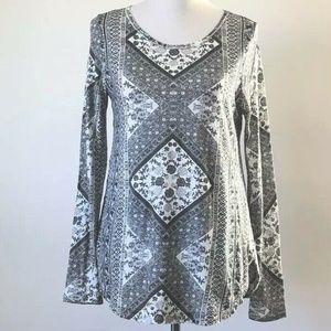 Lucky Brand Long Sleeve Tapestry Print Tee Shirt